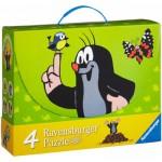 Ravensburger-07264 4 Puzzles - Maulwurf und seine Freunde