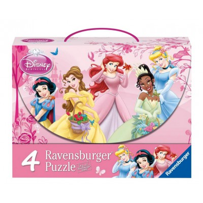 Ravensburger-07267 4 Puzzles - Disney Prinzessinnen