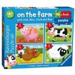 Ravensburger-07302 4 Puzzles - On the Farm