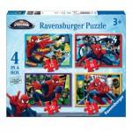 Ravensburger-07363 4 Puzzles - Spiderman