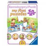 Ravensburger-07375 9 Puzzles - My First Puzzle - Kleine Abenteurer