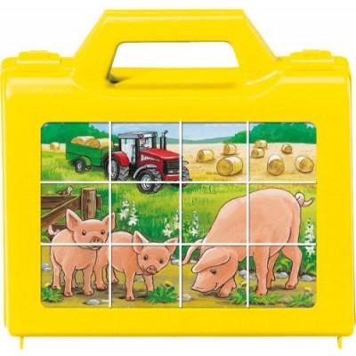 Ravensburger-07471 Würfelpuzzle - Tiere auf dem Bauernhof