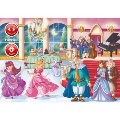 Ravensburger-07502 3 x 35 Teile - Kleine Prinzessin Bella - Interactive Puzzle