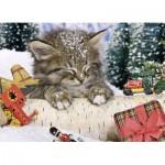 Puzzle  Ravensburger-07547 Katze im Schnee