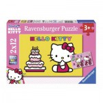 Ravensburger-07553 2 Puzzles - Hello Kitty