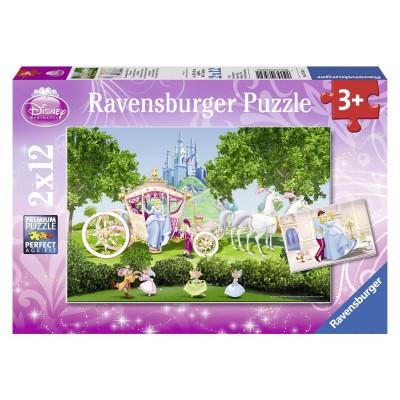 Ravensburger-07562 2 Puzzles - Die zauberhafte Welt des Aschenputtel