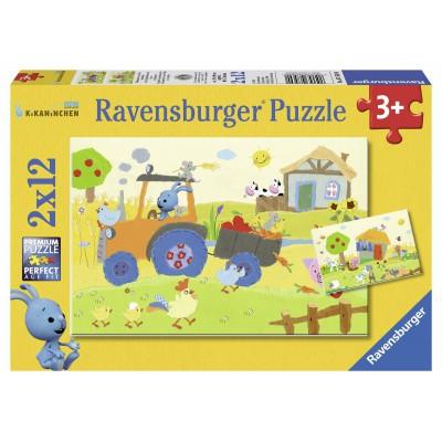 Ravensburger-07569 2 Puzzles - Kikaninchen auf dem Bauernhof