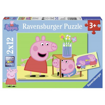 Ravensburger-07573 2 Puzzles - Peppa Pig: Geschwisterliebe