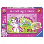 Ravensburger-07577 2 Puzzles - Filly: Prinzessin Scarlet und Freunde