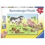 Ravensburger-07590 2 Puzzles - Glückliche Tierfamilien