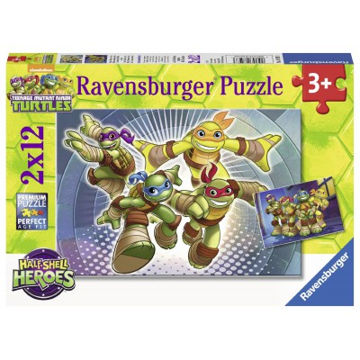 Ravensburger-07597 2 Puzzles - Ninja Turtles