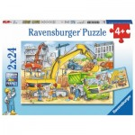 Ravensburger-07800 2 Puzzles - Viel zu tun auf der Baustell