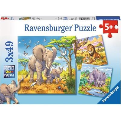 Ravensburger-08003 3 Puzzles - Wilde Giganten
