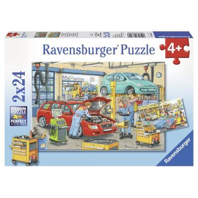 Puzzle Ravensburger-08855 Autowerkstatt und Tankstelle
