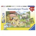 Puzzle  Ravensburger-08858 Tierfamilien auf dem Land