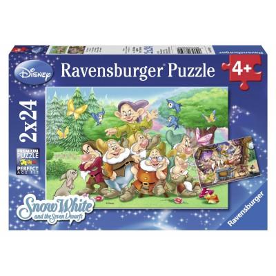Ravensburger-08859 2 Puzzles - Schneewittchen und die sieben Zwerge