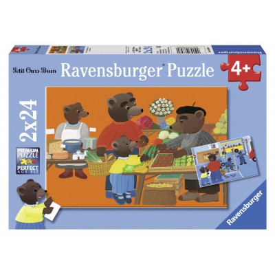Ravensburger-08898 Puzzleset - Der Kleine Braunbär beim Einkaufen