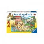 Ravensburger-08940 2 Puzzles - Tierfamilien auf dem Land
