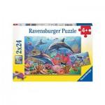 Ravensburger-09017 2 Puzzles - Bunte Unterwasserwelt
