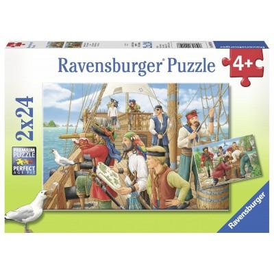 Ravensburger-09019 2 Puzzles - Bei den Piraten