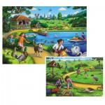 Ravensburger-09041 2 Puzzles - Freizeitspaß im Park
