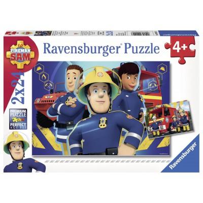 Ravensburger-09042 2 Puzzles - Feuerwehrmann Sam hilft in der Not