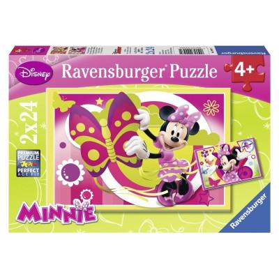 Ravensburger-09047 2 Puzzles - Ein Tag mit Minnie