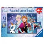 Ravensburger-09074 2 Puzzles - Disney's Frozen - Die Eiskönigin
