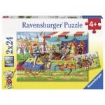 Ravensburger-09083 2 Puzzles - Bei den Rittern