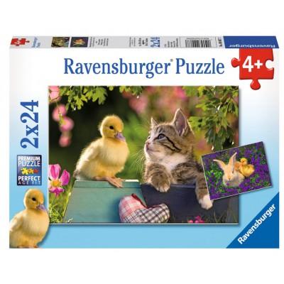 Ravensburger-09087 2 Puzzles - Flauschiger Entenfreund