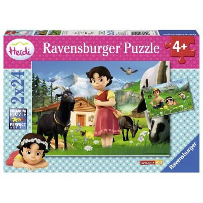 Ravensburger-09091 2 Puzzles - Heidi