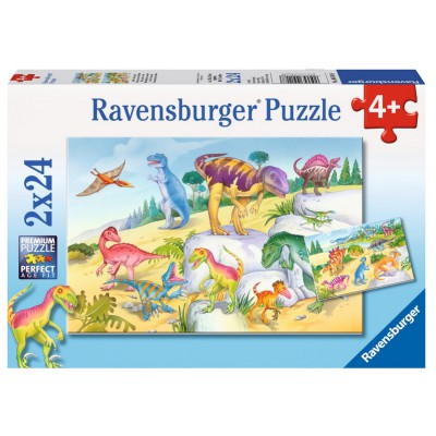 Ravensburger-09118 2 Puzzles - Bunte Dinosaurier