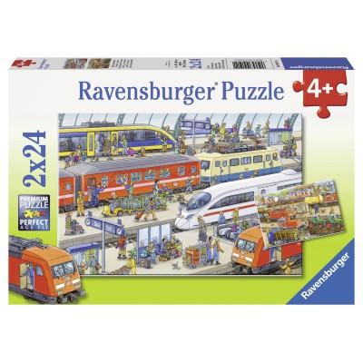 Puzzle Ravensburger-09191 Trubel am Bahnhof