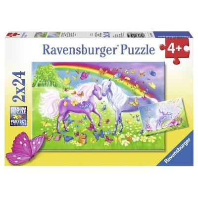 Puzzle Ravensburger-09193 Regenbogenpferde