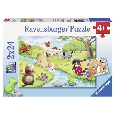 Puzzle Ravensburger-09194 Verspielte Vierbeiner