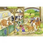 Ravensburger-09195 2 Puzzles - Ein Tag auf dem Bauernhof