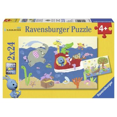 Puzzle Ravensburger-09197 Kikaninchen auf Entdeckungsreise