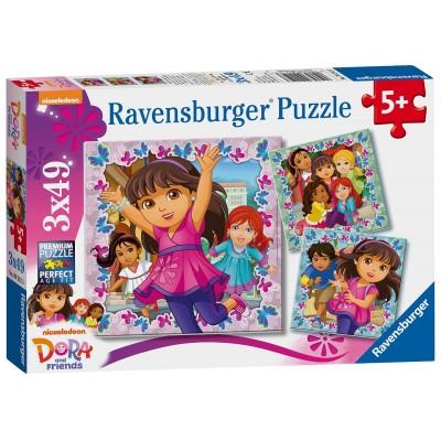 Ravensburger-09212 3 Puzzles - Dora