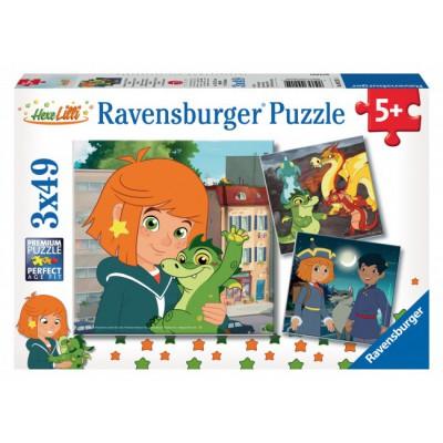 Ravensburger-09215 3 Puzzles - Abenteuer mit Lilli und Hektor