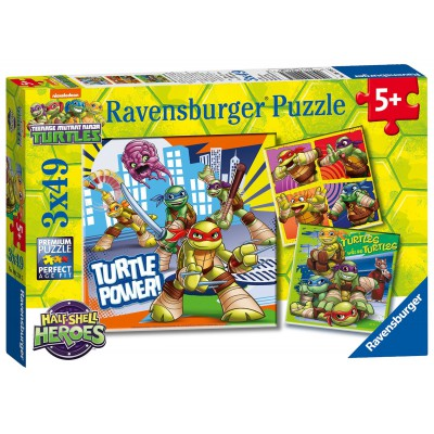Ravensburger-09218 3 Puzzles - Ninja Turtles