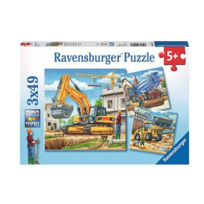 Ravensburger-09226 3 Puzzles - Große Baufahrzeuge