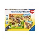Ravensburger-09250 3 Puzzles - Im Wilden Westen
