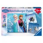 Ravensburger-09264 3 Puzzles - Disney Frozen: Abenteuer im Winterland