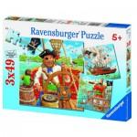 Ravensburger-09275 3 x 49 Teile Puzzleset - Piratenabenteuer