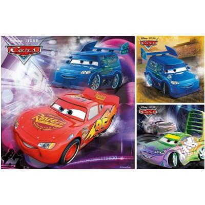 Ravensburger-09305 Puzzle 3 x 49 Teile - Cars: Auf der Rennstrecke