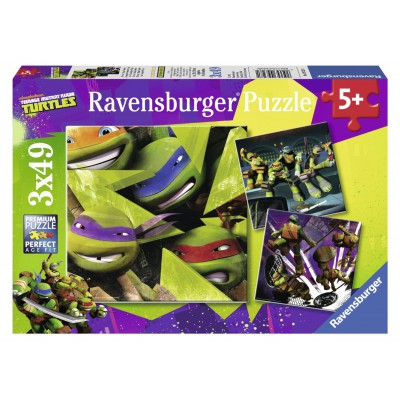 Ravensburger-09328 3 Puzzles - Die vier Ninja Turtles