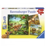 Ravensburger-09330 3 Puzzles - Tiere der Erde