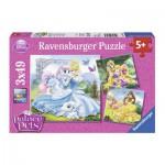 Ravensburger-09346 3 Puzzles - Belle, Cinderella und Rapunzel