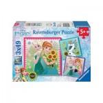 Ravensburger-09356 3 Puzzles - Frozen