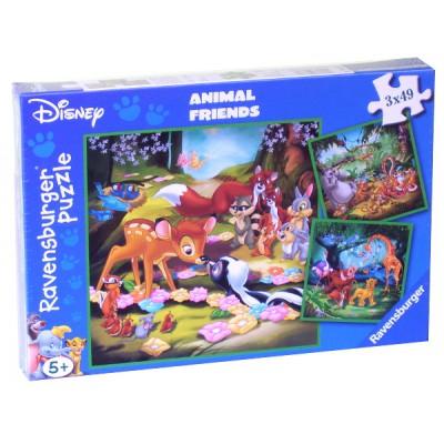 Ravensburger-09365 3 Puzzles - Bambi, Balu und Simba